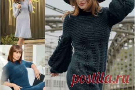 Три теплых вязаных платья на зиму. Схемы и описания. Как связать красивое платье на зиму? Предлагаем вам три вязаных платья спицами на любой вкус: классическое прямое платье, расклешенное платье и модное платье-баллон. Смотрите ссылки на схемы вязания.