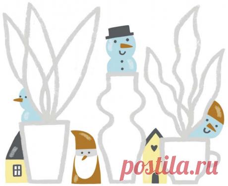 Из пластики для лепки или из природных материалов сделайте много гномиков, снеговичков или просто домиков.