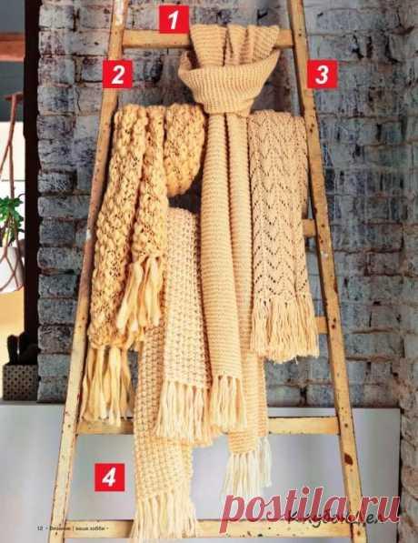 Вязание спицами для женщин - 4 женских шарфа с описанием вязания, схемы