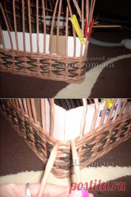 как сделать красивый угол в плетеной корзине