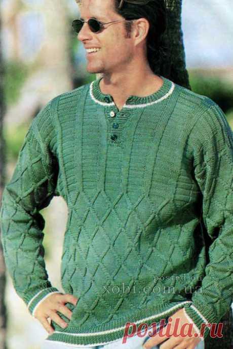 вязаный пуловер с застежкой поло