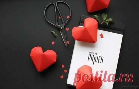 Объемное сердце из бумаги.