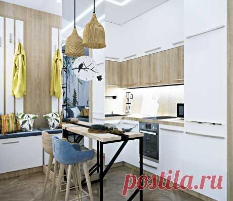 Еще одна из хороших идей - это объединение кухни и гостиной в одно пространство. Эта мера хоть и не приведет к увеличению площади, но поможет создать ощущение более просторного и современного жилища.