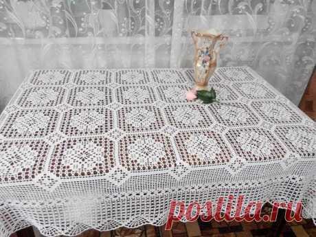Большая белая скатерть для стола крючком — Бабушкины секреты