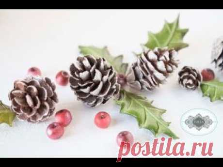 Royal Icing and Fondant Pine Cones, Holly Leaves, and Berries: A Companion Video
