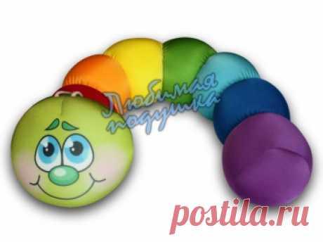 подушка-валик гусеница радужная в разделе Антистрессовые подушки-игрушки   легко купить в интернет-магазине Любимая подушка