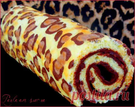 Roulé léopard ou léopard roll cake - Perle en sucre