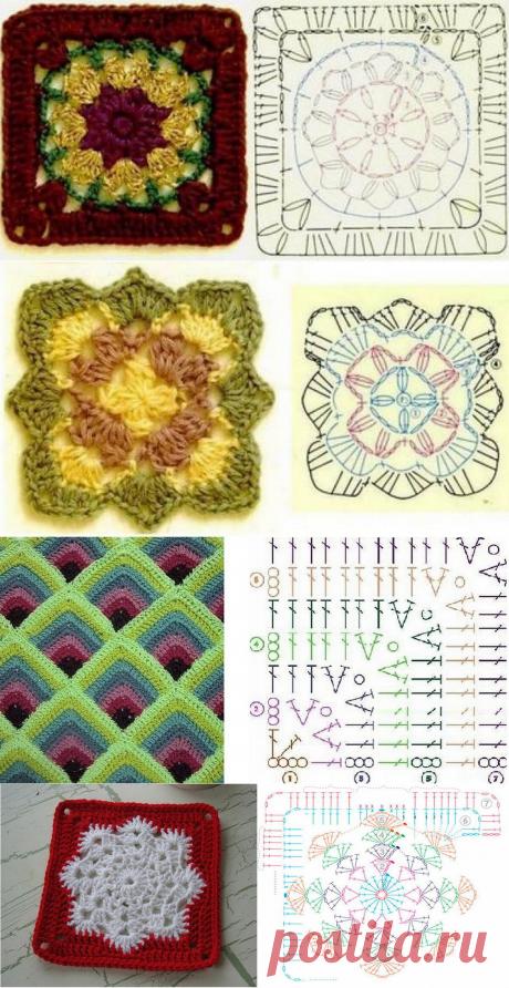 Простой в исполнении, но красивый в применении «бабушкин квадрат». Схемы прилагаются | Ольга knits спицами и крючком | Яндекс Дзен