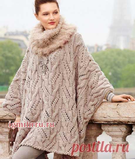Объемная накидка-кейп и пушистый шарф-петля. Вязание спицами