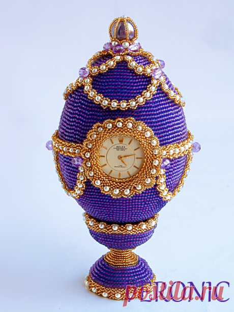 Egg with hours, almost Fabergé | biser.info - all about beads and beaded creativity