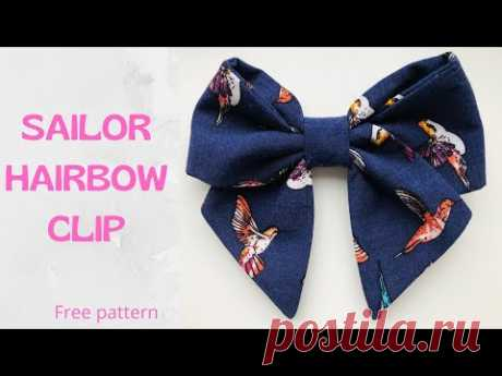 Sailor Hair Bow Clip Tutorial/ Free Pattern/