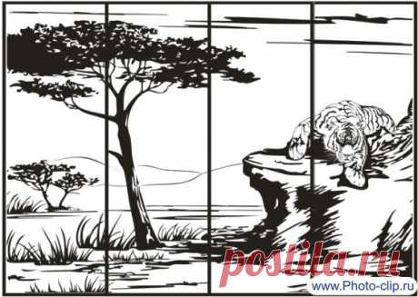 Пескоструйный рисунок №195 Тигр на природе