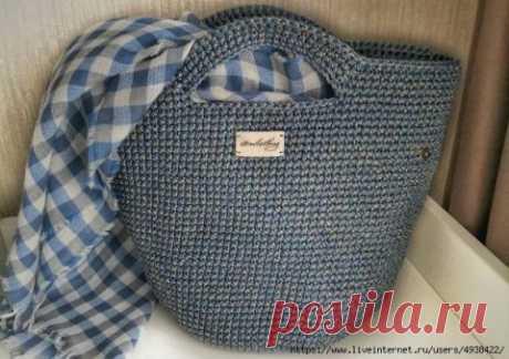 Сумка — шоппер крючком из трикотажной пряжи или шнура