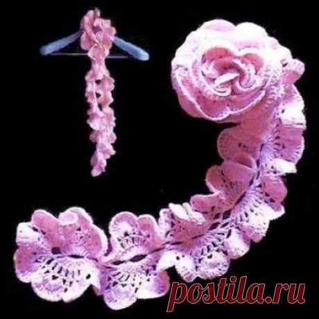 Ажурный розовый шарф крючком. Схемы.  / pautinka.3dn.ru