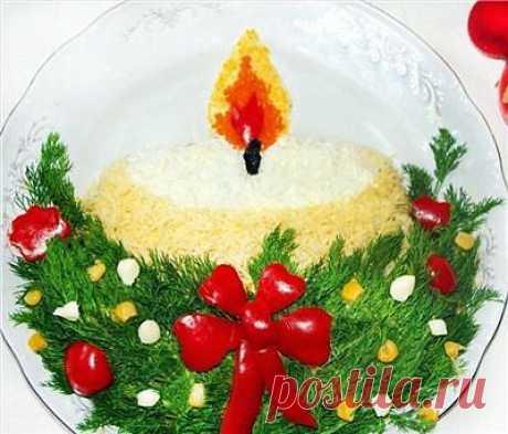 новогодний салат-свеча-