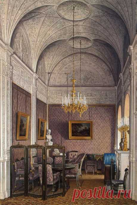 Watercolor of the Boudoir of Empress Alexandra Fyodorovna, painted by Edward Petrovich Hau (1807-1887), a Russian painter who specialized in detailed (almost photographically so) renditions of palace rooms - a documentation of how the 1 % in 19th century Russia lived.   Pinterest • el catálogo Mundial de las ideas