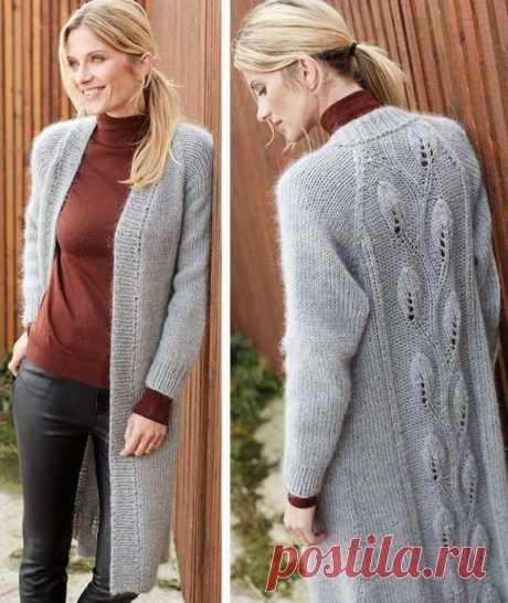 Пальто с узором, вяжем спицами