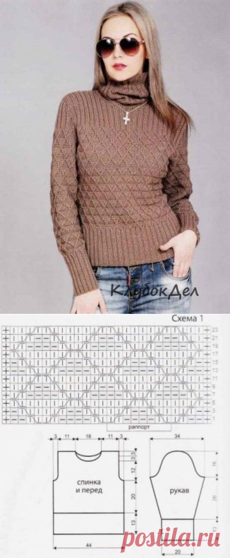Бежевый свитер спицами. Вязание для женщин схема и описание