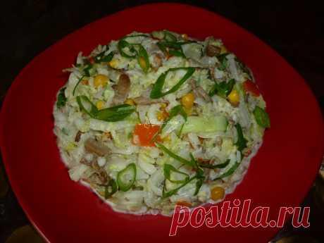 Салат из жареных вешенок с пекинской капустой: рецепт с пошаговым фото