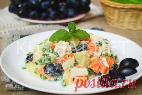 Салат с курицей и виноградом. Пошаговый рецепт с фото - Кушать нет