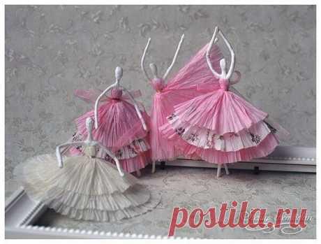 Балерины из салфеток.