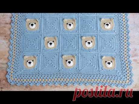 Вязаное крючком детское одеяло Cute Bear (Часть 1, легко, пошаговое руководство!)