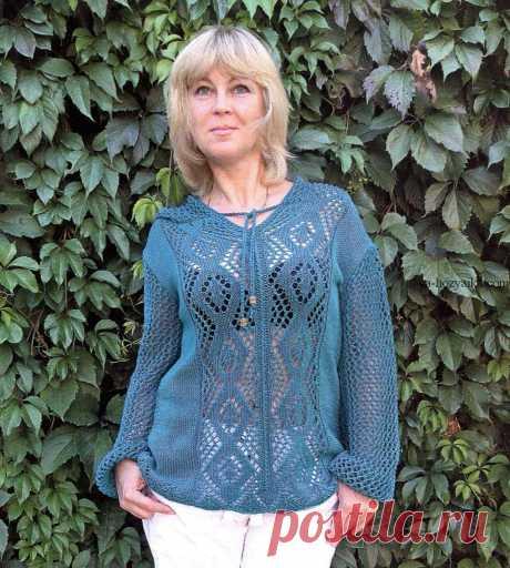 Пуловер с ромбами спицами. Ажурный женский пуловер спицами с описанием Пуловер с ромбами и капюшоном спицами. Ажурная модель женского пуловера спицами с описанием и схемами