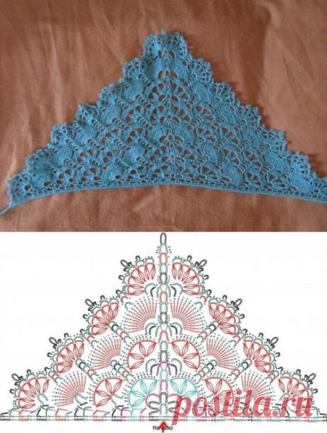 Голубая ажурная косынка для девочки крючком - описание. схемы+фото