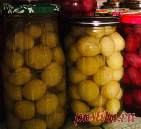 Маринованный виноград. 1 кг винограда, 700 мл воды, палочка корицы,  гвоздика, душистый перец, горчица, 300 г сахара, 15 г соли, 100 мл. яблочного уксуса. Разложи в стерилизованные банки по 2 горош. душистого перца, по 2 гвоздики и по щепотке зерен горчицы. Плотно заполни банки виноградом.  Прокипяти 2-3 мин. воду с сахаром, солью, корицей. Добавь уксус. Залей маринадом виноград, укупорь банки и оберни одеялом до полного остывания.
