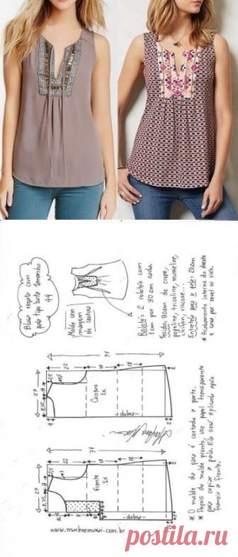 Blusa bata com pala vertical | DIY - molde, corte e costura - Marlene Mukai