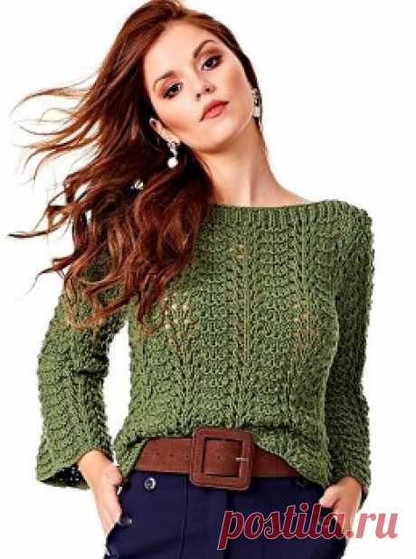 Вязание крючком и спицами - Пуловер волнообразным узором