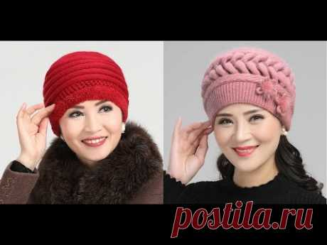 Модные вязанные шапки для женщин 45+