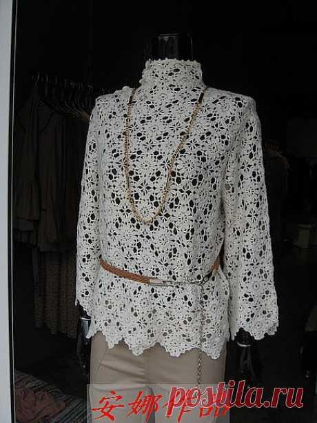 安娜作品----一线连白色高领衣加图解.解说 - 王安娜的日志 - 网易博客