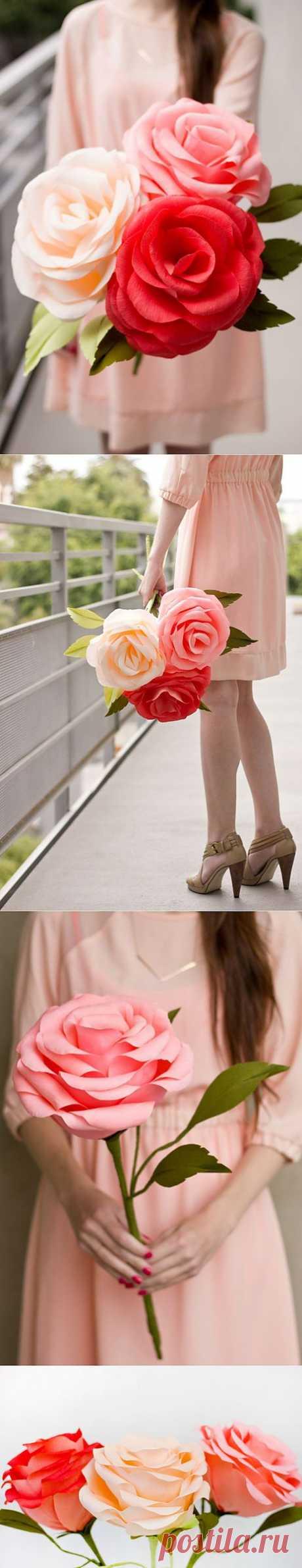Гигантские розы из гофрированной бумаги.