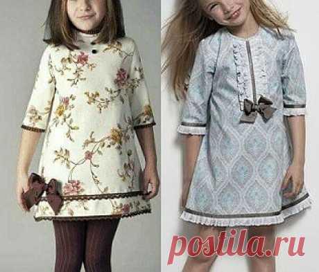El patrón del vestido infantil con la manga 3\/4 a la edad de 1 año a 14 años (la Costura y el corte)