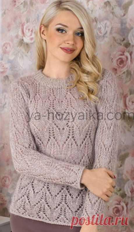 Женский пуловер с ажурным узором спицами. Ажурная кофточка спицами из мохеровой пряжи
