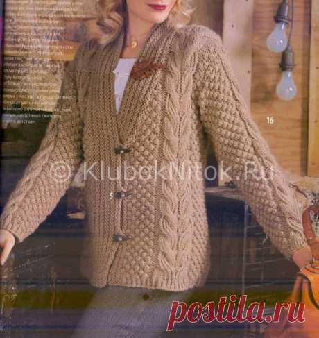 Кардиган с косами и шишечками | Вязание для женщин | Вязание спицами и крючком. Схемы вязания.