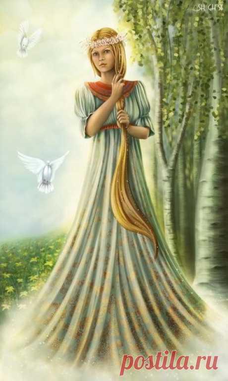 Лада богиня   Богиня Лада является одной из самых главных богинь в языческом пантеоне. Она дочь Рода (иногда считается женской ипостасью Рода) и Уточки. Уточка является матерью всех мифологических птиц, а Ладу как раз очень часто изображают белым Лебедем. Также является матерью Живы, Лели, Леля и Мораны. Таким образом, она является старшей из Рожениц, которые были матерями Богов. В славянской мифологии её называют богиней любви, весны и красоты, покровительницей брака. От ...