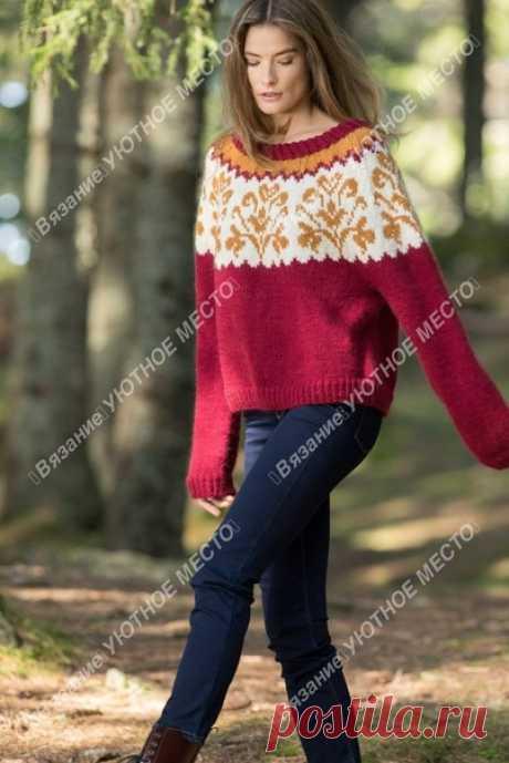 Пуловер с жаккардовой кокеткой(на норвежском)