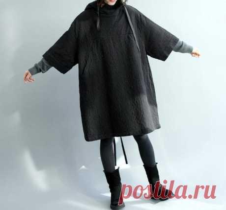 Women Hooded dress Black Oversize Dress Maternity Clothing | Etsy
