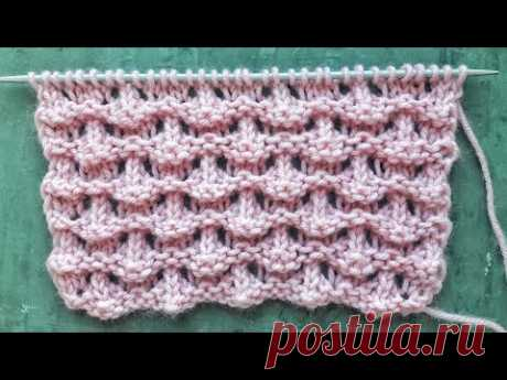 Объемные волны спицами / Узор для вязания свитера, кардигана, джемпера