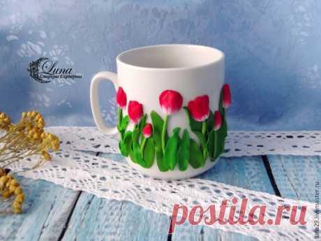 Мастер-класс смотреть онлайн: Видео мастер-класс по декорированию кружки тюльпанами из полимерной глины   Журнал Ярмарки Мастеров