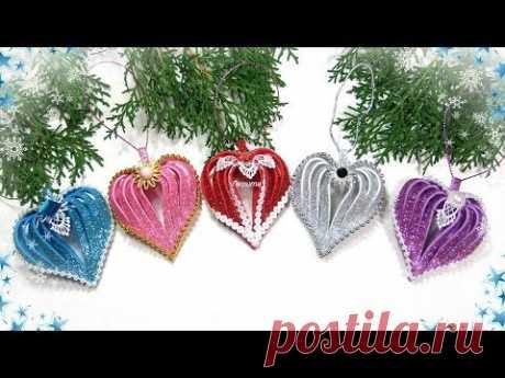 Сердечко своими руками из фоамирана / diy christmas ornaments  glitter foam heart