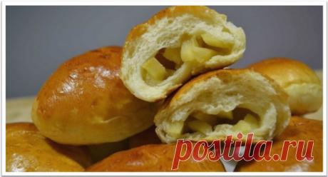 Самые вкусные Пуховые постные яблочные  пирожки из дрожжевого теста.