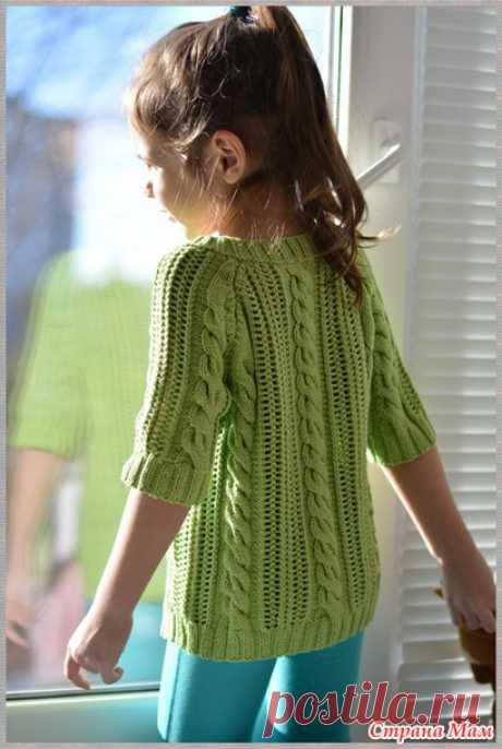Пуловер спицами с рукавами от Phildar