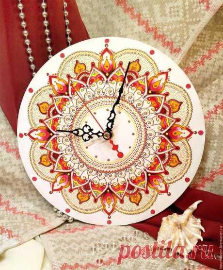 """купить часы восточный мотив Купить Часы """"Восточный мотив"""" - ярко-красный, восток, часы, подарок, белый, основа дерево"""