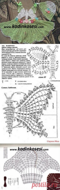 Бабочка крючком для детского летнего сарафана