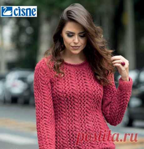 Blusa de Tricô Vermelha com Tranças - Fio Cisne Rusk - Blog do Bazar  Horizonte - bdd32faaceb