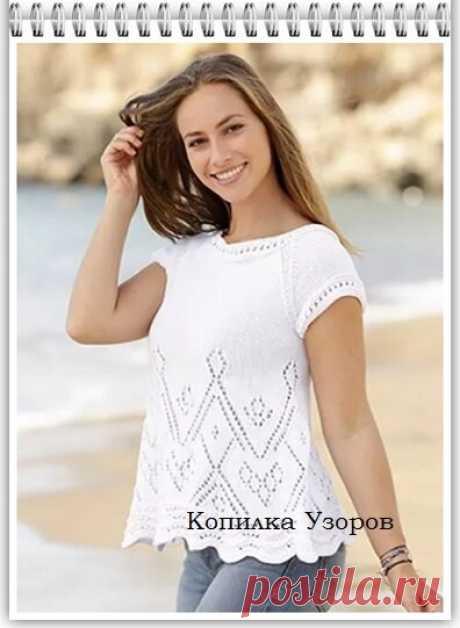 Копилка узоров / Вяжем летний топ для пышных дам   Копилка Узоров / схемы вязания   Яндекс Дзен