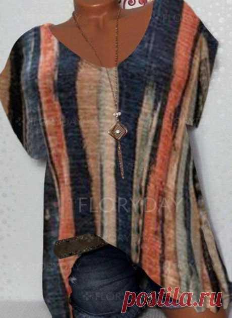 футболки Сочетание контрастных цветов V-образный Короткие рукава - Floryday